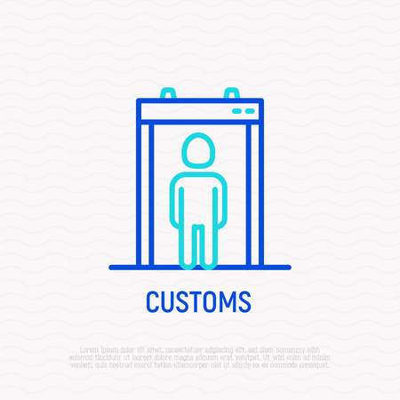 Metal detector in airport thin line icon. Modern vector illustration of passenger scanning.