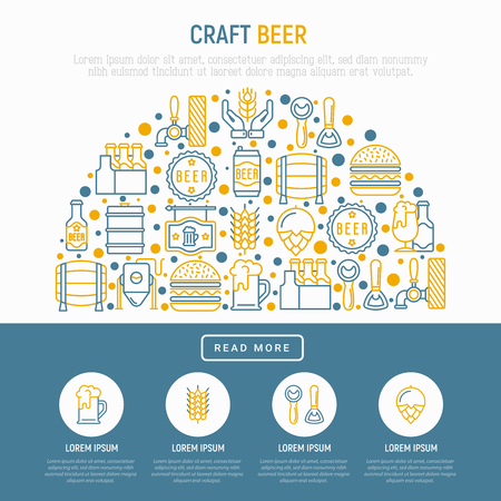 Craft beer concept in half circle with thin line icons related to Octoberfest: beer pack, hop, wheat, bottle opener, manufacturing, brewing, tulip glass. Modern vector illustration for print media.