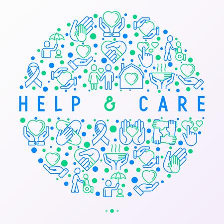 Concept d'aide et de soins en cercle avec des icônes de ligne mince : symboles de soutien, aide aux enfants et aux personnes handicapées, convivialité, philanthropie et don. Illustration vectorielle moderne, modèle pour la presse écrite. Vecteurs