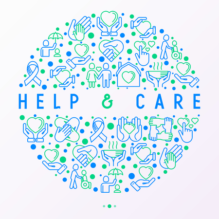 Help and care concept in circle with thin line icons: symbols of support, help for children and disabled, togetherness, philanthropy and donation. Modern vector illustration, template for print media.