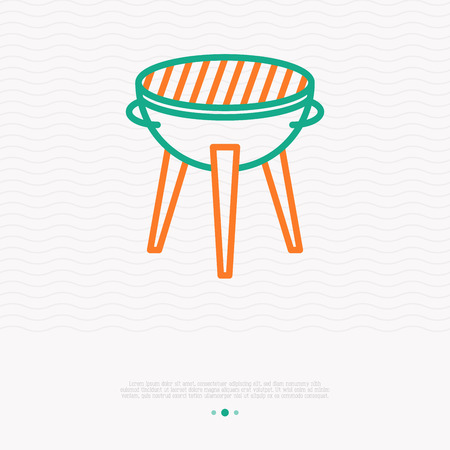 Grill for barbecue thin line icon. Modern vector illustration. Illustration