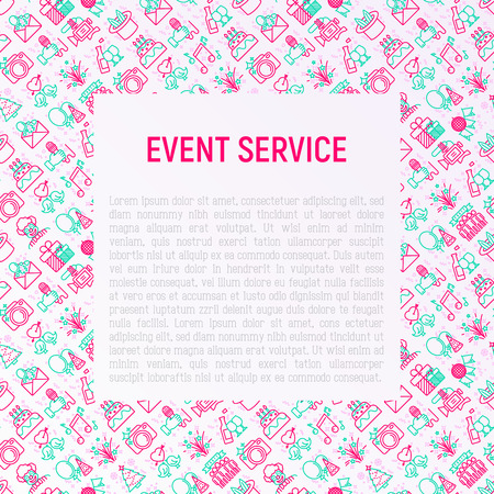 Event services concept with thin line icons: kids party, gifts, birthday, magician, clown, videographer, party invitation, corporate, celebration, romantic date. Vector illustration for invitation.