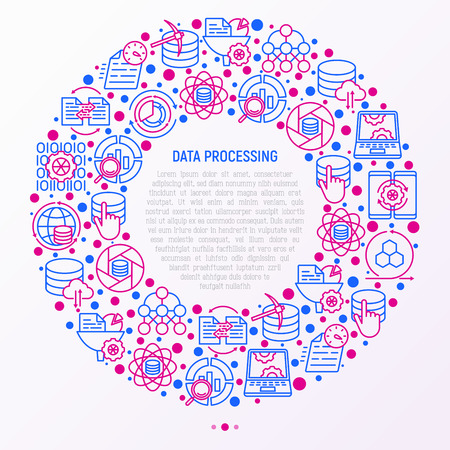 Data processing concept in circle with thin line icons: data science, filtering, deep learning, mobile syncing, big data, tracking, cloud database. Modern vector illustration for banner, print media. Illustration