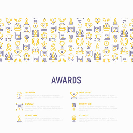 Awards concept with thin line icons: trophy, medal, cup, star, statuette, ribbon. Modern vector illustration of prizes for competition. Template for print media, banner. Illustration