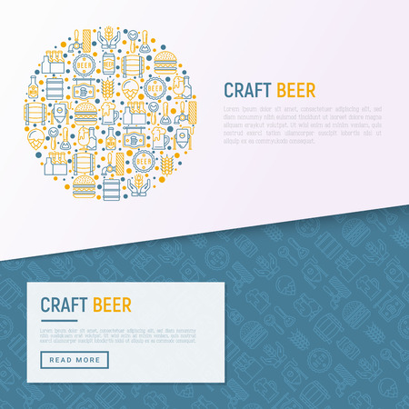 Craft beer concept in circle with thin line icons related to Octoberfest: beer pack, hop, wheat, bottle opener, manufacturing, brewing, tulip glass, mag with foam. Vector illustration for print media. Illustration