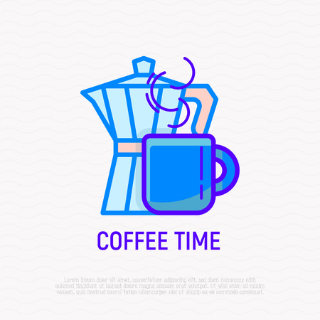 Coffee time thin line icon: coffee maker and cup. Modern vector illustration. Illustration