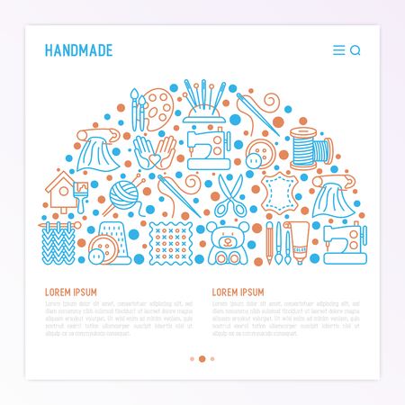 Handmade concept in half circle with thin line icons: sewing machine, knitting, needlework, drawing, embroidery, scissors, threads, yarn, pin. Vector illustration, template for workshop, print media.