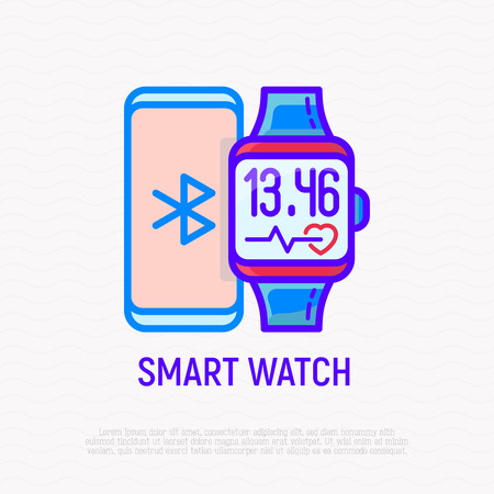 Smart watch and smartphone thin line icon. Modern vector illsutration. Vectores