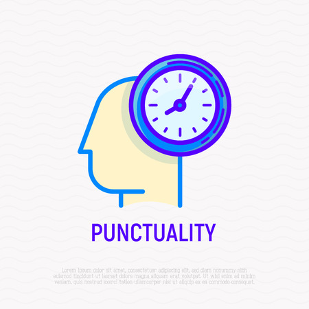 Punctuality, time management thin line icon. Silhouette of human head with watch. Modern vector illustration.