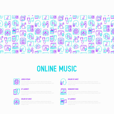 Online music concept with thin line icons: smartphone with mobile app, headphones, earphones, equalizer, speaker, smart watch, microphones, subscription. Vector illustration, print media template.
