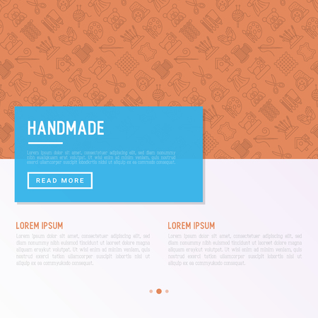 Handmade concept with thin line icons: sewing machine, knitting, needlework, drawing, embroidery, scissors, threads, yarn, pin. Modern vector illustration, template for workshop, print media.