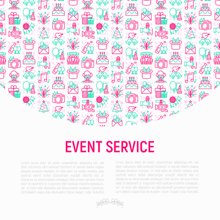 Event services concept with thin line icons: kids party, gifts, birthday, magician, clown, videographer, party invitation, corporate, fireworks, celebration. Vector illustration, print media template.