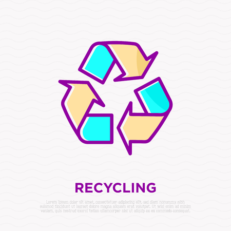 Recycle sign: three arrows in circle thin line icon. Modern vector illustration. Illustration