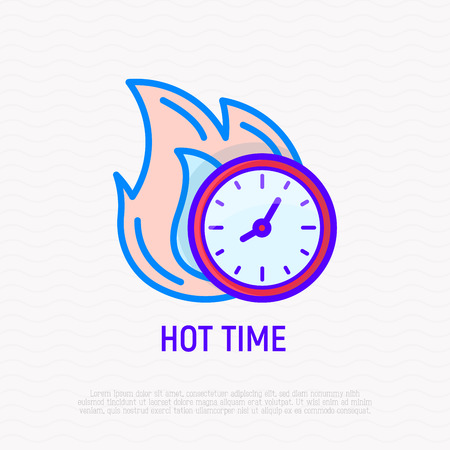 Hot time: clock in fire thin line icon. Modern vector illustration of sale, deal.