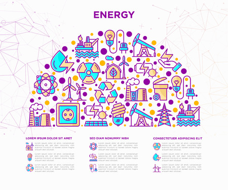 Energy concept in half circle with thin line icons: factory, oil platform, hydropower, wind energy, power socket, radioactivity,  solar energy, recycling, nuclear energy. Modern vector illustration. Illustration
