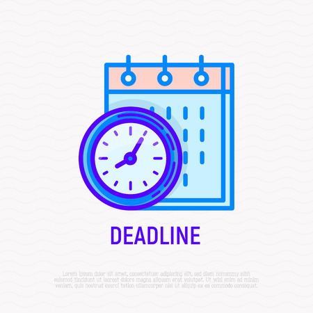 Deadline thin line icon: clock and calendar. Modern vector illustration.
