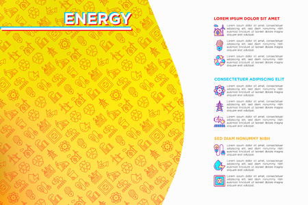 Energy concept with thin line icons: factory, oil platform, hydropower, wind energy, power socket, radioactivity, garbage, recycling, nuclear energy. Modern vector illustration, web page template. 向量圖像