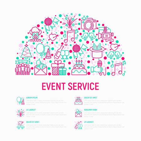 Event services concept in half circle with thin line icons: kids party, gifts, birthday, magician, clown, videographer, party invitation, fireworks, romatic date. Vector illustration web page template