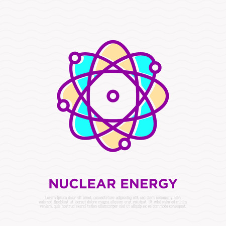 Nuclear energy thin line icon: electons around atom. Modern vector illustration. Illustration
