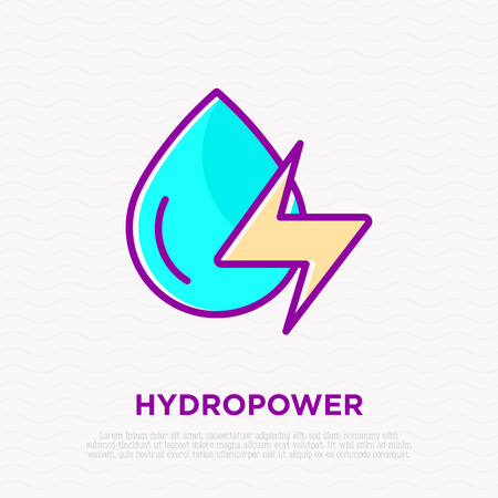Hydropower: water drop with energy symbol. Thin line icon. Modern vector illustration of renewable energy.