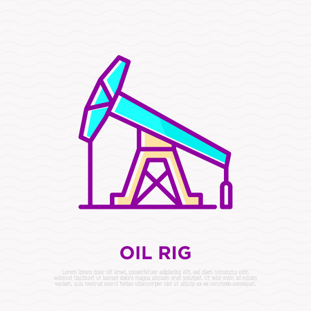 Oil rig thin line icon. Modern vector illustration of oil production. Illustration