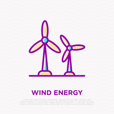 Wind power: two windmills thin line icon. Modern vector illustration of rotational energy.