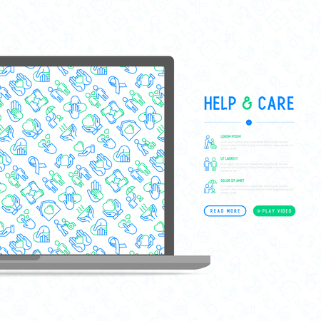 Help and care concept with thin line icons: symbols of support, help for children and disabled, togetherness, philanthropy and donation. Modern vector illustration, template for print media.