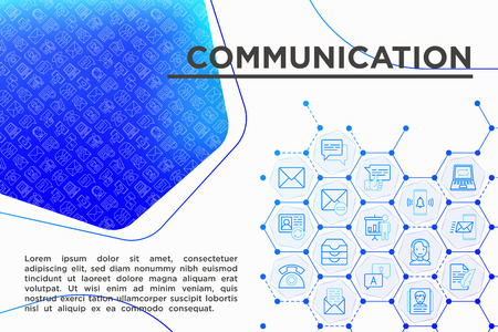 Communication concept with thin line icons: email, phone, chat, contacts, comment, inbox, translator,presentation, message, screen share, support. Modern vector illustration, template for web page. Stock Illustratie