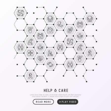 Help and care concept in honeycombs with thin line icons: symbols of support, help for children and disabled, togetherness, philanthropy and donation. Vector illustration, template for print media. Illustration