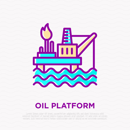 Oil platform thin line icon. Modern vector illustration of oil extraction from the sea.