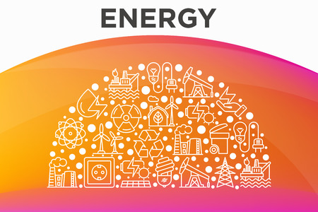 Energy concept in half circle with thin line icons: factory, oil platform, hydropower, wind energy, power socket, radioactivity, garbage, oil rig, recycling. illustration, web page template.