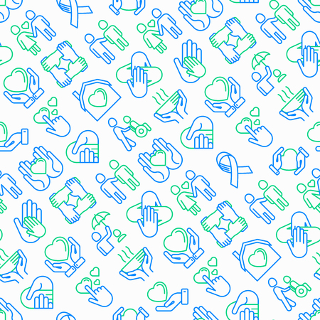 Help and care seamless  with thin line icons: symbols of support, help for children and disabled, togetherness, philanthropy and donation. Modern illustration. 矢量图像