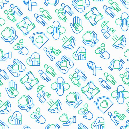 Hilfe und Pflege nahtlos mit dünnen Symbolen: Symbole der Unterstützung, Hilfe für Kinder und Behinderte, Zusammengehörigkeit, Philanthropie und Spende. Moderne Abbildung.