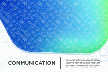 Communication concept with thin line icons: email, phone, chat, contacts, comment, inbox, translator,presentation, message, screen share, support. Modern vector illustration, template for web page. Illustration