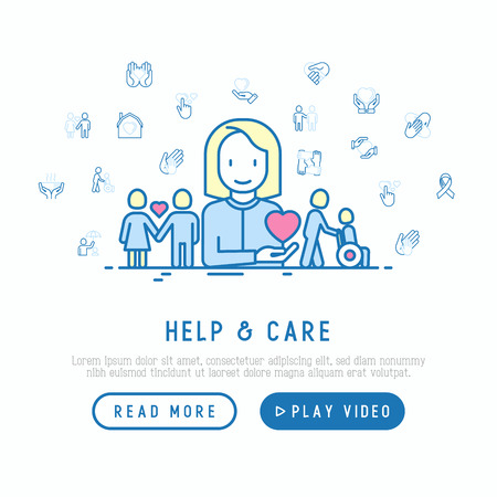 Help and care concept with thin line icons: symbols of support, help for children and disabled, togetherness, philanthropy and donation. Vector illustration, web page template.
