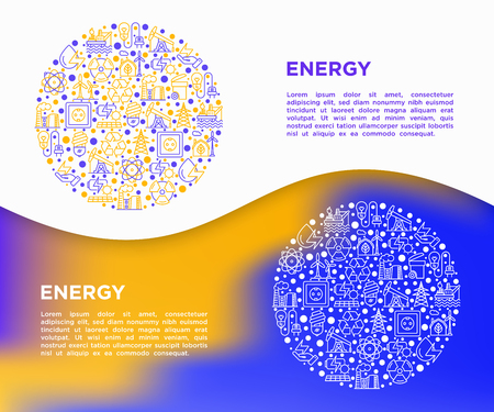 Energy concept in circle with thin line icons: factory, oil platform, hydropower, wind energy, power socket, radioactivity, garbage, oil rig, recycling. Vector illustration, web page template.