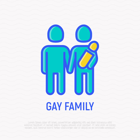 Homosexual family with child thin line icon. Modern vector illsutration.