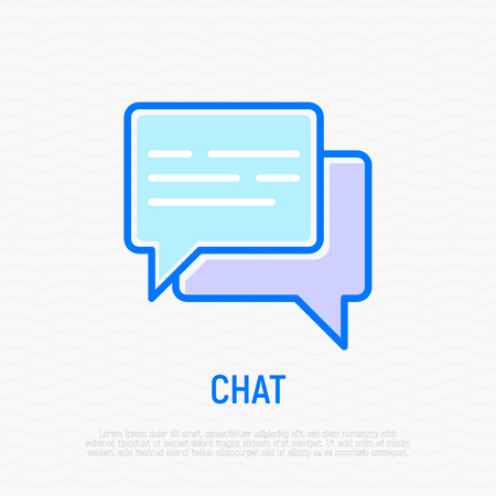 Chat thin line icon: two speech bubbles. Modern vector illustration.