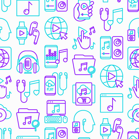 Online music seamless pattern with thin line icons: smartphone with mobile app, headphones, earphones, equalizer, speaker, smart watch, microphones, note. Vector illustration.
