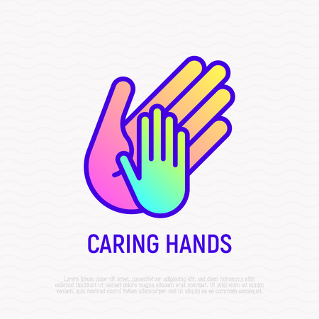 Little hand in big, symbol of caring thin line icon. Modern vector illustration. Illusztráció