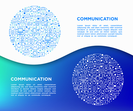 Communication concept in circle with thin line icons: email, phone, chat, contacts, comment, inbox, translator,presentation, message, screen share, support. Modern vector illustration, template for web page.