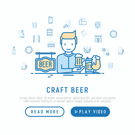 Craft beer concept: man and mag with foam. Thin line icons related to Octoberfest: beer pack, hop, wheat, bottle opener, manufacturing, brewing, tulip glass. Vector illustration, web page template. Illustration