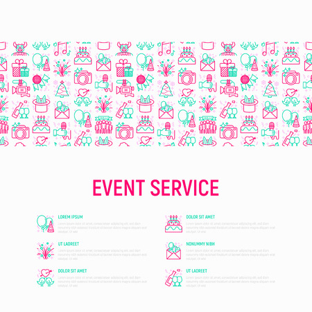 Event services concept with thin line icons: kids party, gifts, birthday, magician, clown, videographer, party invitation, corporate, fireworks, romatic date. Vector illustration, print media template