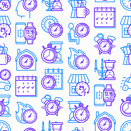 Time seamless pattern with thin line icons: coffee time, stopwatch, smart watch, hot time, sale, deadline, alarm, open hours, coundown. Modern vector illustration.