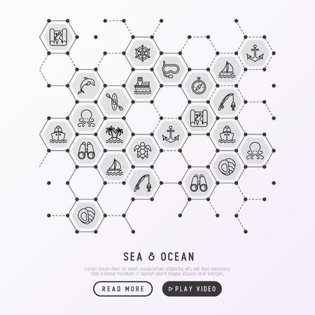 Sea and ocean journey concept in honeycombs with thin line icons: sailboat, fishing, ship, oysters, anchor, octopus, compass, steering wheel, snorkel. Modern vector illustration, print media template