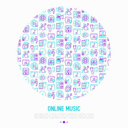 Online music concept in circle with thin line icons: smartphone with mobile app, headphones, earphones, equalizer, speaker, smart watch, microphone. Vector illustration, print media template. Stock Illustratie