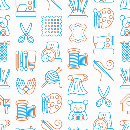 Handmade seamless pattern with thin line icons: sewing machine, knitting, needlework, drawing, embroidery, scissors, threads, yarn, pin. Vector illustration, background for print media about workshop.