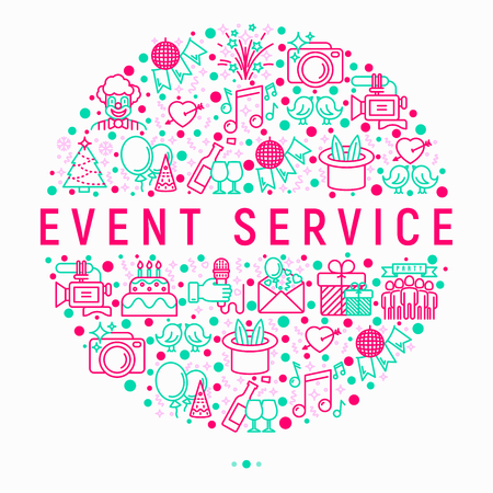 Event services concept in circle with thin line icons: kids party, gifts, birthday, magician, clown, videographer, party invitation, corporate, romantic date. Vector illustration, web page template.