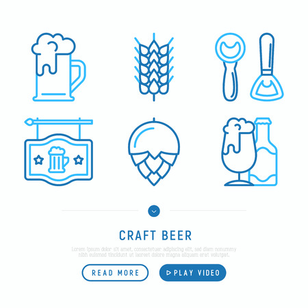 Craft beer thin line icons set: mag with foam,  wheat, bottle opener, manufacturing, brewing, tulip glass. Vector illustration, web page template.