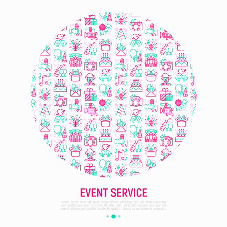 Event services concept in circle with thin line icons: kids party, gifts, birthday, magician, clown, videographer, party invitation, corporate, fireworks. Vector illustration, print media template 일러스트